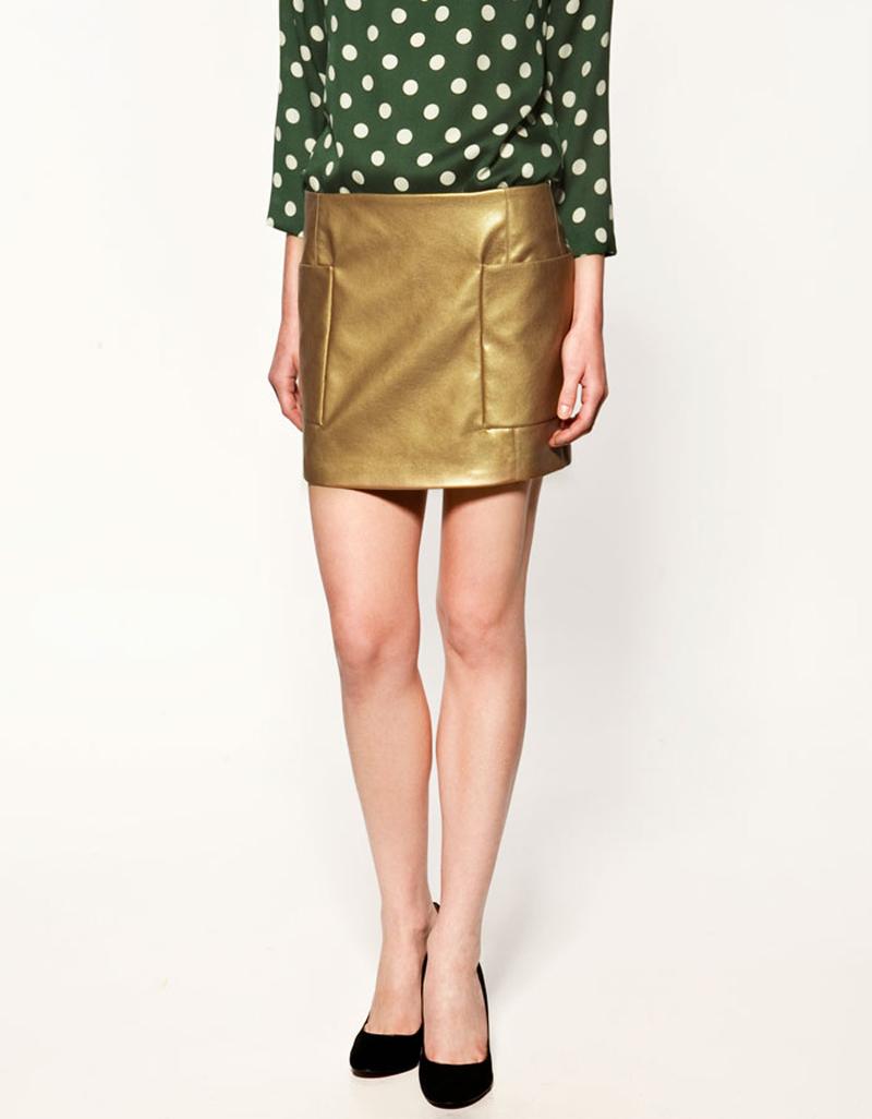 Minifalda oro zara