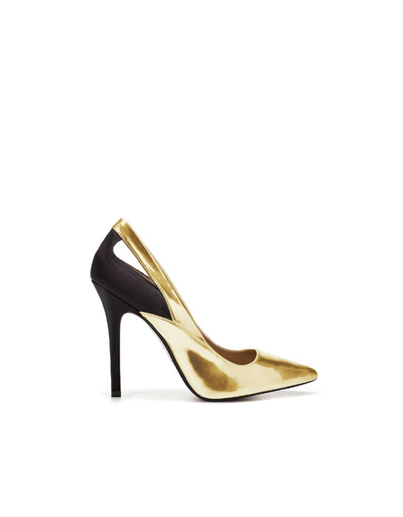 zapatos dorados zara