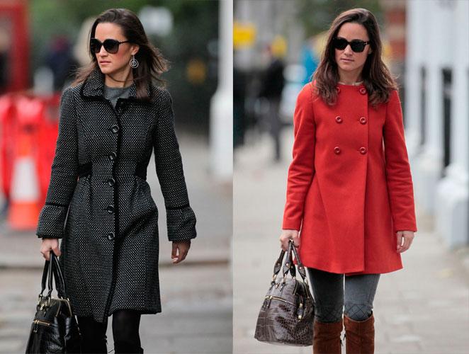 El rojo de Zara y 12 más: los abrigos de Pippa Middleton