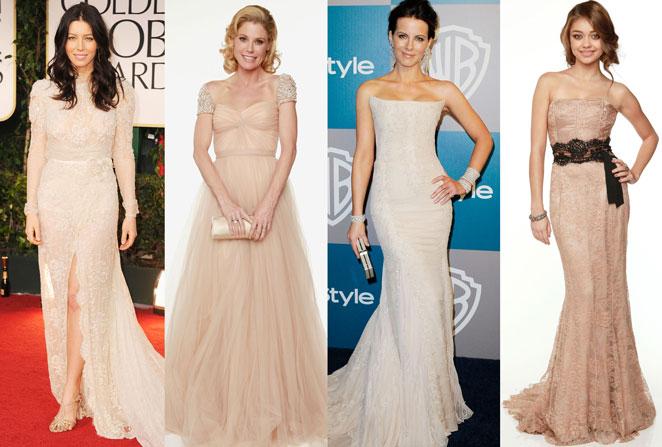 Vestidos nude Globos de Oro 2012