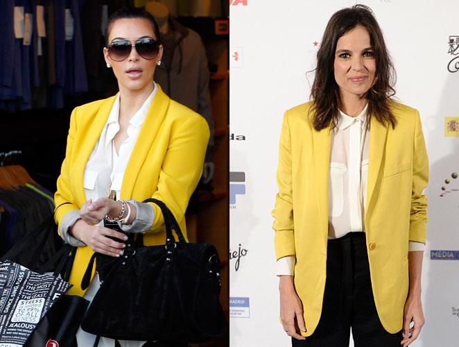 Kim Kardashian vs. Elena Anaya ¿a quién le queda mejor el blazer flúor?