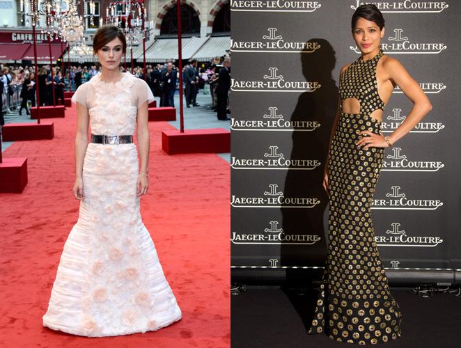 Duelo de vestidos largos: el recatado de Keira Knightley contra el sexy de Freida Pinto