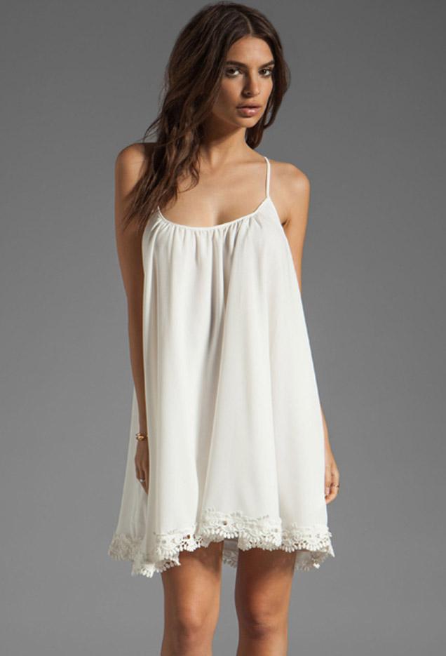 Vestido lencero blanco corto
