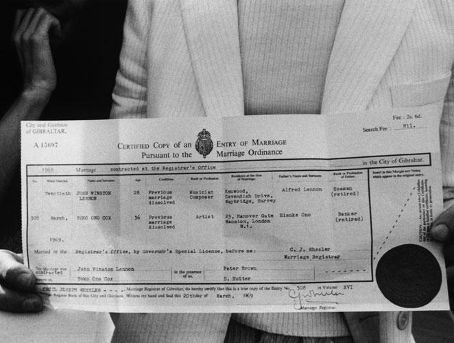 certificado boda john lennon y yoko ono