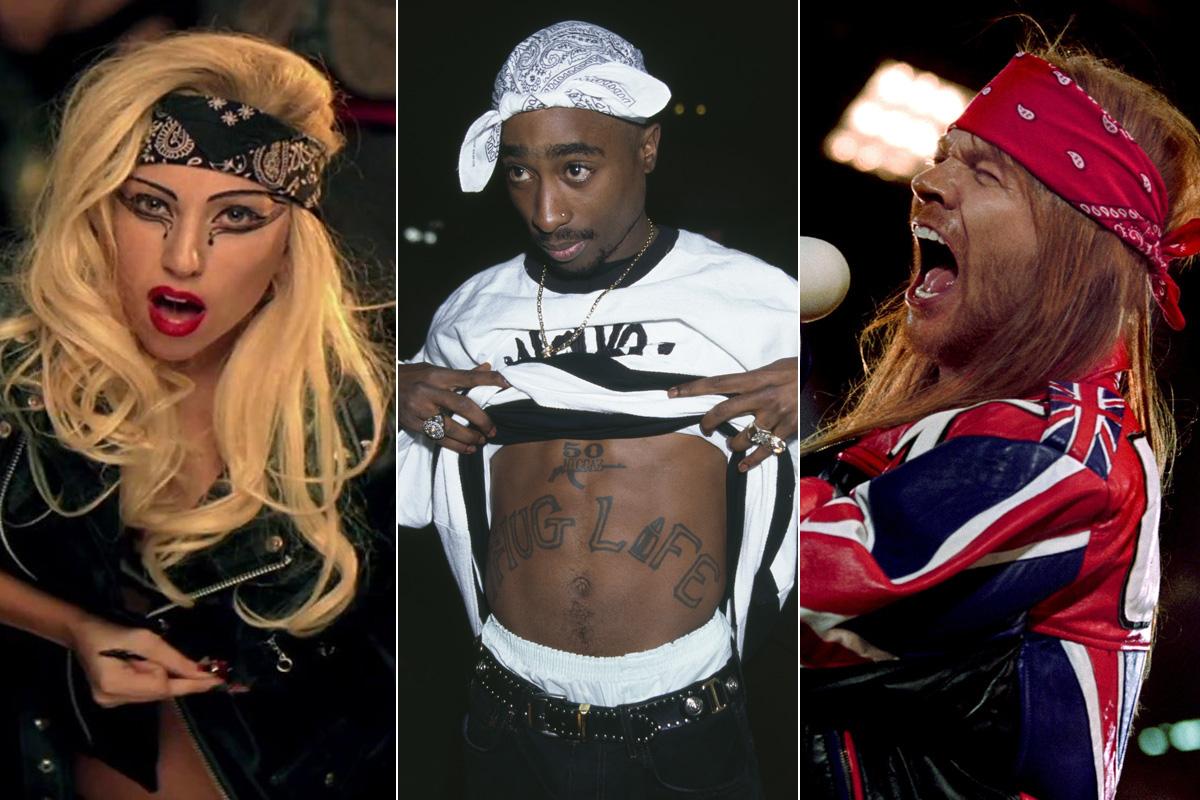 bandana Tupac Lady Gaga Axl Rose