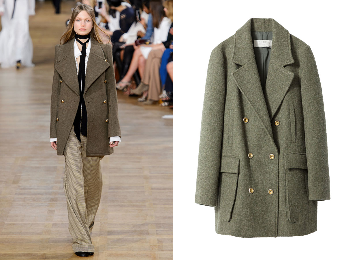 Zara abrigo corto doble botonadura