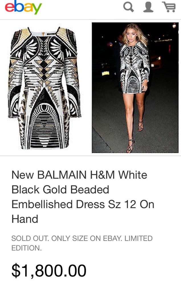 Balmain H&M ebay