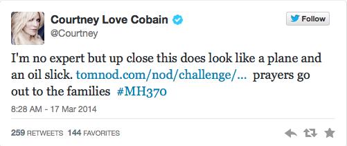 Courtney Love cree haber encontrado el avión desaparecido