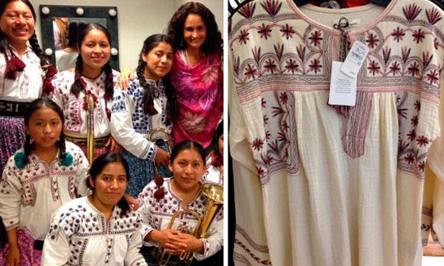 A la izquierda, las túnicas de las mujeres de Tlahuitoltepec. A la derecha, la blusa de la colección de Marant. Foto: Twitter @SusanaHarp